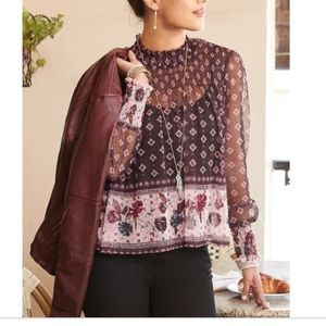 Maurices Mesh Smocked Floral Blouse
